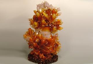 玛瑙平安长寿花瓶